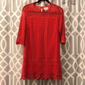 Everly lace burnt orange mini dress size S sleeves